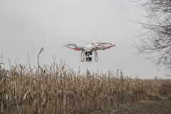 Editorial photo of a DJI Phantom drone in flight with a mounted GoPro Hero3 Black Edition. St.Louis Missouri. - DECEMBER19: Editorial photo of a DJI Phantom stock photo