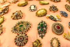 Free EDITORIAL PINS IN ANTIQUES FAIR Royalty Free Stock Image - 138939156