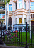 Editorial private house Brussels Belgium. BRUSSELS-OCT. 1: A typical private residence with children's bicycles is seen by Parc du Cinquantenaire in Brussels Royalty Free Stock Photo
