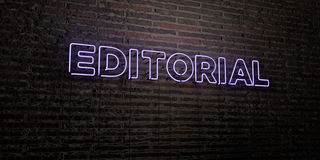 EDITORIAL -Realistic Neon Sign on Brick Wall background - 3D rendered royalty free stock image Royalty Free Stock Image