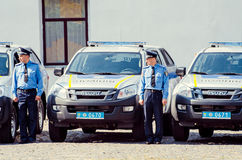 Editorial reportage Gift Volynskaiy policemen special cars Lutsk, Volyn region Ukraine 03.09.15 Royalty Free Stock Photo
