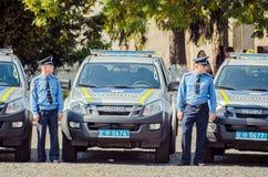 Editorial reportage Gift Volynskaiy policemen special cars Lutsk, Volyn region Ukraine 03.09.15 Stock Photography