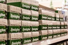 EDITORIAL: Shelves of Remington 12 gauge shotgun shells stock photo