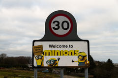 Editorial Sign post for Minions, Bodmin Moor Royalty Free Stock Image