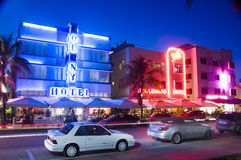Editorial south beach miami hotels. SOUTH BEACH, MIAMI-APRIL 19: Art deco style hotels with neon lights on Ocean Drive South Beach, Miami, Florida on April 19 Royalty Free Stock Images
