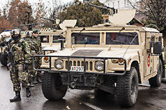 Editorial: before the 1st of December parade (2). Tirgu-Mures, Marosvasarhely, Neumarkt / Romania - December 01 2015: Romanian army equipment display before the Stock Image