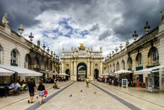 Editorial,31st July 2016: Nancy, France: Touristic center of the. City, street view Stock Photography