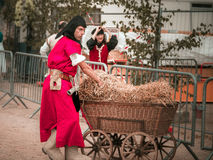 Editorial,14st June 2015: Chatenois, France: Fete des Remparts d. E Chatenois. Fancy-dress medieval holiday and festival in old castle stock photography