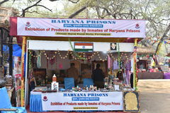 Editorial: Surajkund, Haryana, India: Crafts shop by Haryana Prisons inmates in 30th International crafts Carnival. The fair focuses on rich showcase of royalty free stock image