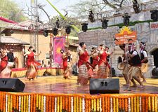 Editorial: Surajkund, Haryana, India: Feb 06th, 2016:Local Artists from Assam performing dance in 30th International crafts fair. Editorial: Surajkund, Haryana stock photography