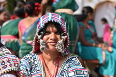Editorial: Surajkund, Haryana, India:Feb 06th, 2016:Spirit of Carnival in 30th International crafts Carnival. Artists in traditional dresses and enjoying the royalty free stock photos