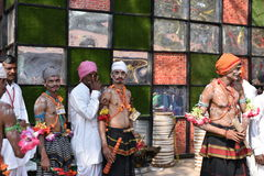 Editorial: Surajkund, Haryana, India:Feb 06th, 2016:Spirit of Carnival in 30th International crafts Carnival. Artists in traditional dresses and enjoying the stock photography