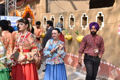 Editorial: Surajkund, Haryana, India:Feb 06th, 2016:Spirit of Carnival in 30th International crafts Carnival. Artists in traditional dresses and enjoying the stock photos