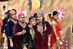 Editorial: Surajkund, Haryana, India:Feb 06th, 2016:Spirit of Carnival in 30th International crafts Carnival. Artists in traditional dresses and enjoying the stock image