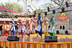 Editorial: Surajkund, Haryana, India: Local Artists from Punjab performing bhangra dance in 30th International crafts fair Royalty Free Stock Photos