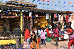 Editorial: Surajkund, Haryana, India: People checking out shops in 30th International crafts Carnival Royalty Free Stock Images