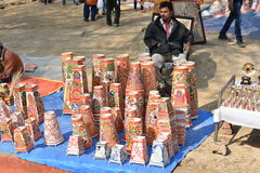 Editorial: Surajkund, Haryana, India: Regional Craft shops in 30th International crafts Carnival. The fair focuses on rich showcase of regional and royalty free stock photo