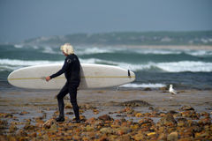 Editorial surfer Ditch Plains Montauk New York Stock Photos