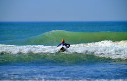 Editorial surfer girl on Ditch Plains beach Montauk New York Royalty Free Stock Photography