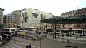 Editorial: 15th December 2016: Strasbourg. Central tram station.