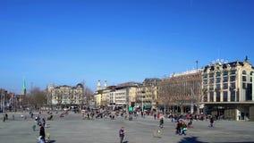 Editorial: 19th February 2017. Zurich center, place Opera. Switzerland. stock footage