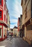 Editorial: 8th March 2018: Auxerre, France. Street view, sunny d. Ay, old center of historical city in Burgundy Stock Image