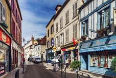 Editorial: 8th March 2018: Auxerre, France. Street view, sunny d. Ay, old center of historical city in Burgundy Stock Photo