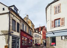 Editorial: 8th March 2018: Auxerre, France. Street view, sunny d. Ay, old center of historical city in Burgundy Royalty Free Stock Photography