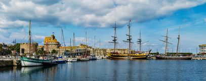 Editorial: 20th September 2017: St-Malo, France. Old big fore-an. D-after pirate ships. Panoramic high resolution view Royalty Free Stock Photo