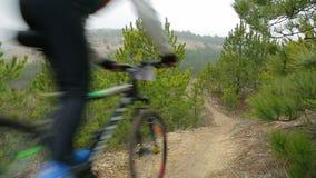 EDITORIAL. Three Bikers Going Fast Downhill stock video