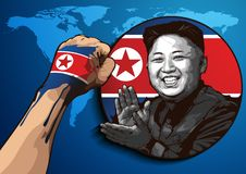 Portrait of Kim Jong-un. Editorial use only. Portrait of Kim Jong-un. North Korean leader, Commander of the North Korea People`s Army. Became North Korean leader stock illustration