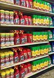 EDITORIAL: A variety of weed killers and plant food products for sale at a farm and garden store in Illinois stock images
