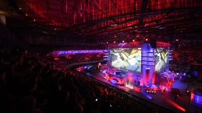SAINT PETERSBURG, RUSSIA - OCTOBER 28 2017: EPICENTER Counter Strike: Global Offensive cyber sport event. Tribunes full