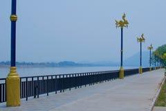 Editorial_walking-path-near-mekhong-river royalty free stock image