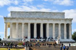Editorial: Washington DC, USA - 10th November 2017. Abraham Lincoln Memorial in the morning with blue sky and clouds