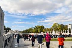 Editorial: Washington DC, USA - 10th November 2017. People in World War II Memorial at Washington DC. America, architecture, beautiful, blue, building, capital stock image