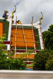 Editorial Workers repairing roof with bamboo scaffolding,  Wat P Royalty Free Stock Photography