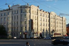 Cityscape: 74 Malysheva Street, Hotel Tsentralnaya. royalty free stock images