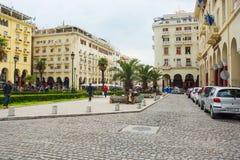 editoriale Aprile 2019 Salonicco, Grecia Paesaggio urbano, vista della via di Aristotele del pedone nel centro fotografie stock