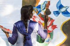 Editoriale documentario PONDICHERY, PUDUCHERY, TAMIL NADU, INDIA - 8 marzo 2018 Per il giorno internazionale della donna, gir non Fotografia Stock