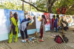 Editoriale documentario PONDICHERY, PUDUCHERY, TAMIL NADU, INDIA - 8 marzo 2018 Per il giorno internazionale della donna, gir non Fotografie Stock