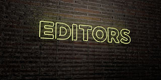 EDITORS -Realistic Neon Sign on Brick Wall background - 3D rendered royalty free stock image Stock Photos