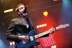 Editors. Singer Tom Smith of Editors during performance on festival Rock for People in Hradec Kralove, Czech republic, July 6, 2010 Stock Image