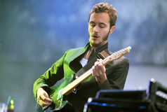 Editors. Singer Tom Smith of Editors during performance on festival Rock for People in Hradec Kralove, Czech republic, July 6, 2010 Stock Photo