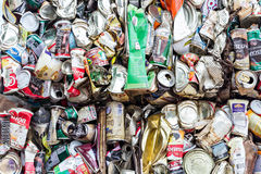 Editporial: Compressed aluminum cans for recycle Stock Images