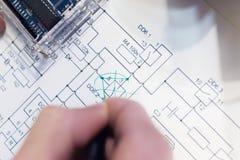 Edits of electronics elecrto scheme drawing Royalty Free Stock Image