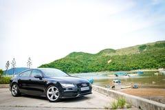 Edizione 2014 del nero di Audi A7 Sportback Fotografie Stock Libere da Diritti