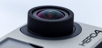 Edizione nera dell'eroe 4 di GoPro isolata su bianco Fotografie Stock Libere da Diritti