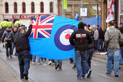EDL Demonstration in Blackburndivision Stock Photos