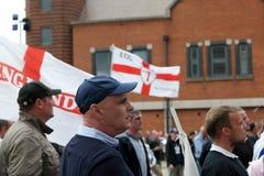 EDL Protestor in Walsall Engeland op 15 Augustus 2015 Royalty-vrije Stock Afbeelding